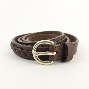 ANN TAYLOR LOFT Genuine Leather Braided Belt Small